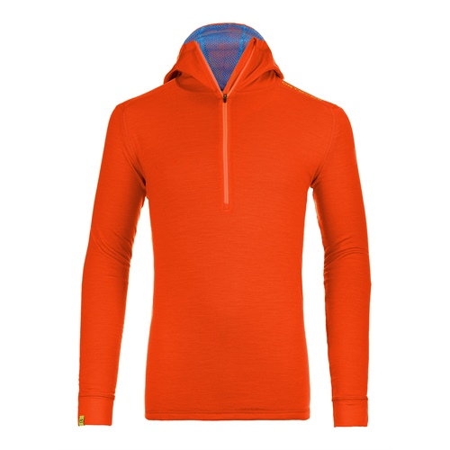 OUTLET - Fleece Ortovox Merino Ultra 260 Net Hoody | Crazy Orange L